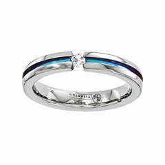 Edward Mirell Mens Genuine White Sapphire Titanium Wedding Band