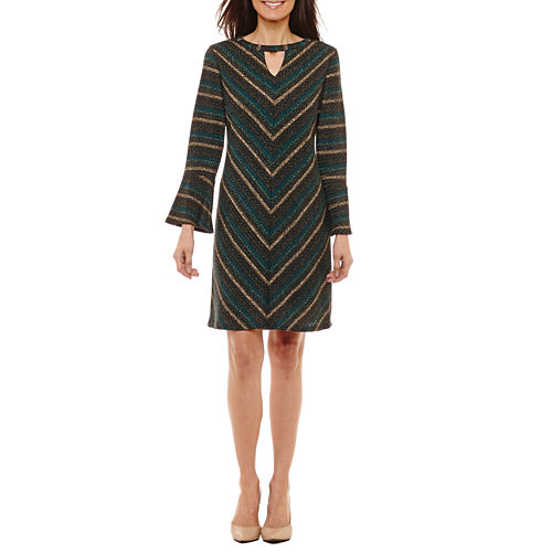 Studio 1 3/4 Sleeve Stripe Shift Dress-Petites