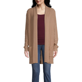 St. John's Bay-Tall Womens Long Sleeve Open Front Cardigan