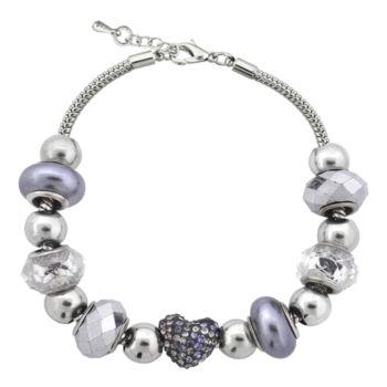 Sparkle Allure Dazzling Designs Silver-Plated Black & Red Artisan Glass Bead Bracelet