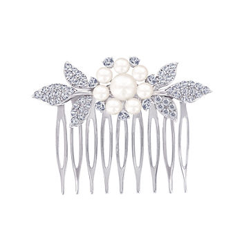 DiamonArt® Sterling Silver Freshwater Pearl Flower Hair Comb