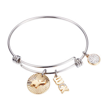 Footnotes Luck Silver Over Brass Stainless Steel 8 1/4 Inch Solid Bangle Bracelet