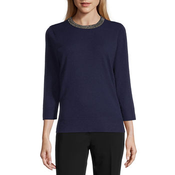 Liz Claiborne Womens Jewel Neck 3/4 Sleeve Pullover Sweater