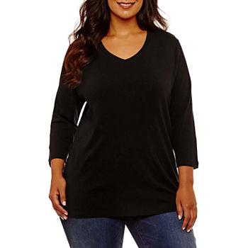 davvero comodo prezzo più economico abbigliamento sportivo ad alte prestazioni St. John's Bay-Womens V Neck 3/4 Sleeve T-Shirt