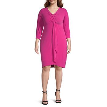 Bold Elements-Plus 3/4 Sleeve Bodycon Dress