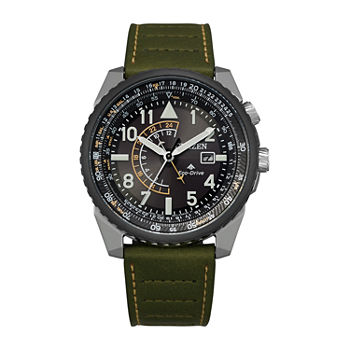 Citizen Eco-Drive Mens Green Leather Strap Watch-Bj7138-04e