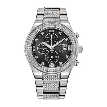 Citizen Eco-Drive Mens Crystal Accent Silver Tone Stainless Steel Bracelet Watch - Ca0750-53e