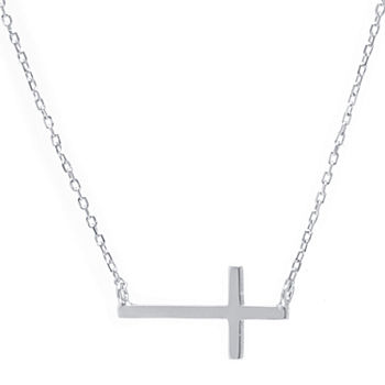 Silver Treasures Sterling Silver 16 Inch Cable Cross Statement Necklace