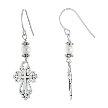 Silver Treasures Sterling Silver Cultured Freshwater Pearl Cross Drop Earrings