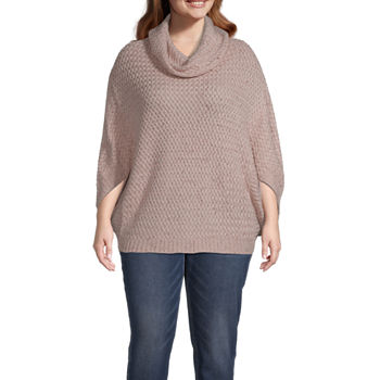 St. John's Bay Womens Cowl Neck 3/4 Sleeve Poncho Plus