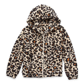 Arizona Little & Big Girls Faux Fur Hooded Midweight Jacket