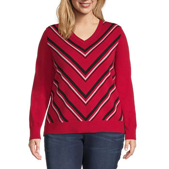Liz Claiborne Chevron Pullover Sweater - Plus