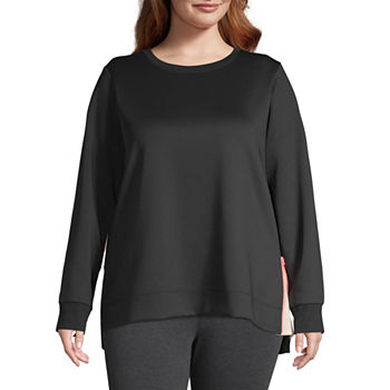 Xersion Womens Crew Neck Long Sleeve Sweatshirt Plus