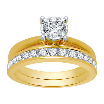 Womens 1 CT. T.W. Genuine White Diamond 10K Gold Solitaire Bridal Set