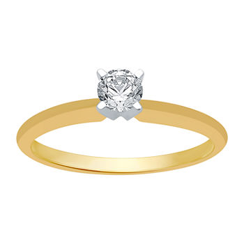 Womens 1/4 CT. T.W. Genuine White Diamond 10K Gold Round Solitaire Engagement Ring