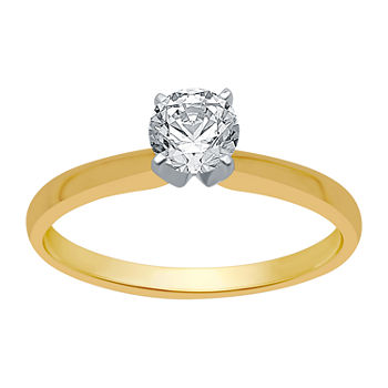 Womens 1/2 CT. T.W. Genuine White Diamond 10K Gold Round Solitaire Engagement Ring