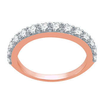 Womens 1 CT. T.W. Genuine White Diamond 10K Rose Gold Wedding Stackable Ring