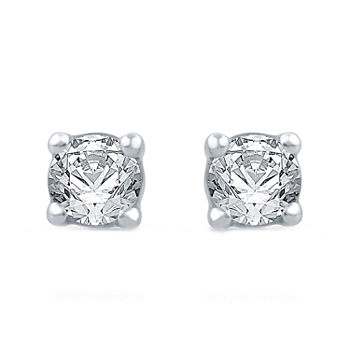 3/8 CT. T.W. Genuine White Diamond 10K White Gold 4.2mm Stud Earrings