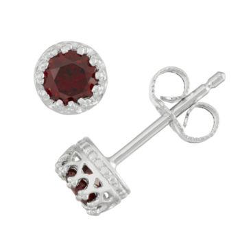 Fine Jewelry Faceted Genuine Garnet & White Topaz Sterling Silver Stud Earrings