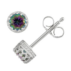Round Multi Color Mystic Fire Topaz Sterling Silver Stud Earrings