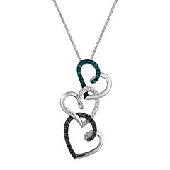 1/10 CT. T.W. Diamond Sterling Silver Triple-Heart Pendant Necklace