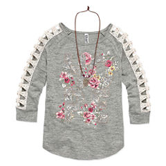Beautees Crochet Sleeve Top w Necklace- Girls' 7-16