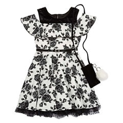Knit Works Short Sleeve Cold Shoulder Sleeve Skater Dress - Big Kid Girls
