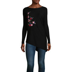Liz Claiborne Long Sleeve Embroidered Asymmetrical Sweater
