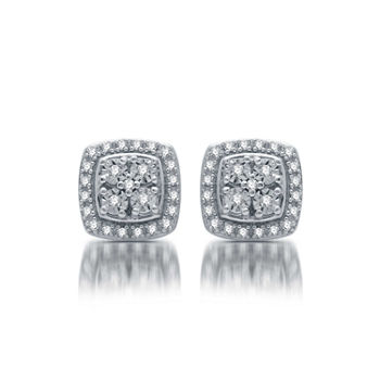 190282b1b T.W. Genuine Diamond Stud Earrings in Sterling Silver