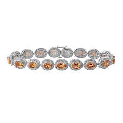 Genuine Citrine & Diamond Accent Sterling Silver Bracelet