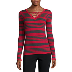 Ohmg Long Sleeve V Neck Stripe Pullover Sweater-Juniors