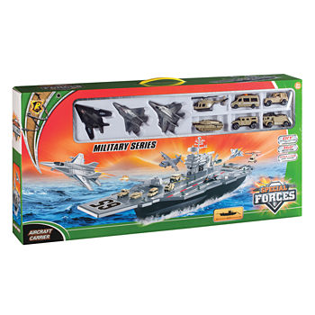 Aircraft Carrier Bp96243 Playset W/ 3 Planes And Vehicles