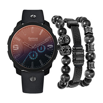 Mixit Mega Sets Mens Black 3-pc. Watch Boxed Set-8033b-18-G02