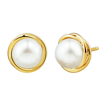 Certified Sofia™ Cultured Freshwater Pearl 10K Gold Knot Stud Earrings