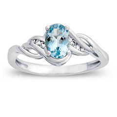 Womens Diamond Accent Genuine Blue Aquamarine 10K Gold Cocktail Ring