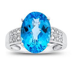 Womens Diamond Accent Genuine Blue Blue Topaz 10K Gold Cocktail Ring