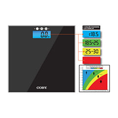 COBY Digital Bathroom Scale with Color Changing LCD Display and BMI Function