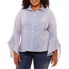 a.n.a Long Sleeve Woven Stripe Blouse-Plus