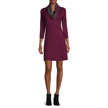 by&by-Juniors 3/4 Sleeve Sweater Dress
