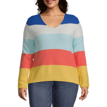 St. John's Bay-Plus Womens Scoop Neck Long Sleeve Striped Pullover Sweater