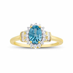 Genuine Blue Topaz & 1/4 C.T. T.W. Diamond 10K Yellow Gold Ring