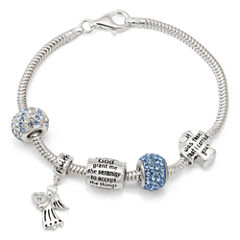 Womens White Crystal Charm Bracelet