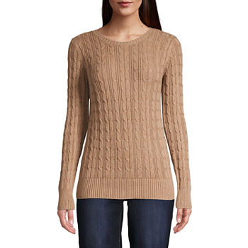 St. John's Bay-Tall Cable Womens Crew Neck Long Sleeve Pullover Sweater
