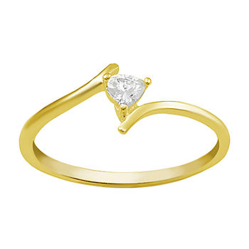 Itsy Bitsy Cubic Zirconia 14K Gold Over Silver Band