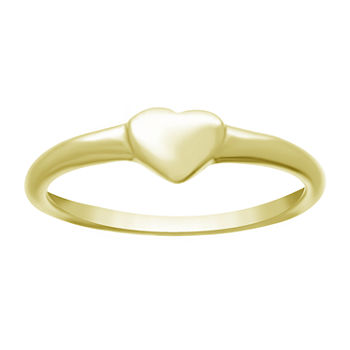 Itsy Bitsy Sterling Silver 14K Gold Over Silver Heart Band