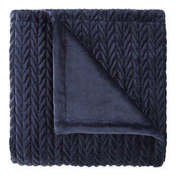 Loom + Forge Chevron  Faux Mink Throw
