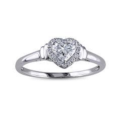 1/2 CT. T.W. Diamond 14K White Gold Heart Ring