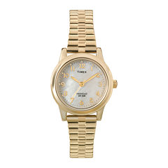 Timex® Elevated Classic Womens Gold-Tone Stainless Steel Expansion Bracelet Watch T2M8279J