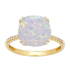 Womens Diamond Accent Lab Created White Opal 10K Gold Cocktail Ring