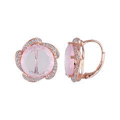 Genuine Pink Quartz and White Topaz Earrings